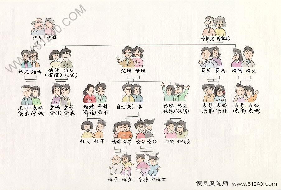 中国主要亲属关系简表 - 图